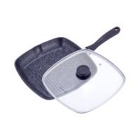 Сковорода-гриль с мраморным покрытием Kamille – 28 х 28 х 4.5 см с крышкой квадратная 4431
